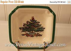 30% OFF Fall Savings SALE Vintage Spode Christmas Tree Ashtray China Dish