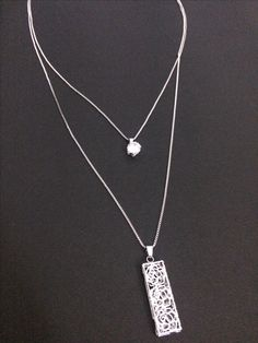 Rez+Steh new collection layered crystal pendant with long chain