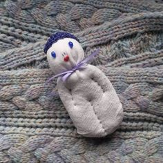 Lavender Filled Valentine Sock Doll White w/Blue Stone Eyes Red Heart Mouth #Pedricks