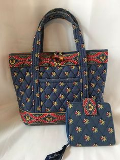 d49f1f3955 Details about VERA BRADLEY 3 Piece Set Purse Handbag Tote Mini Tote Coin  Purse QUILTED