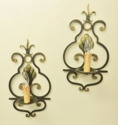 Vintage wrought iron sconces with chateau styling, French country wall lights black and gold Look Vintage, French Vintage, Wrought Iron Chandeliers, Gold Paint, Candle Sconces, French Country, Wall Lights, Bulb, Etsy