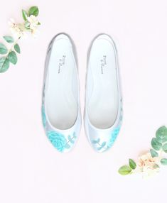 Hand painted custom flat wedding shoes with mint succulents and eucalyptus, designed by Elizabeth Rose and hand painted in our London studio Hand Painted Shoes, Wedding Shoes, Succulents, Mint, Flats, London, Bride, Studio, Design