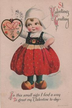 Shop Vintage Dutch Girl Victorian Valentine's Day Holiday Postcard created by ZazzleArtGallery. My Funny Valentine, Valentine Images, Valentines Day Greetings, Happy Valentines Day, Valentine's Day Greeting Cards, Valentine Greeting Cards, Vintage Valentine Cards, Vintage Greeting Cards, Vintage Postcards