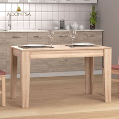 Τραπέζι 125x73x75 κατάλληλο για την Τραπεζαρία και την Κουζίνα. Από την Alphab2b.gr Double Vanity, Dining Room, Kitchen, Table, Furniture, Home Decor, Cooking, Decoration Home, Room Decor