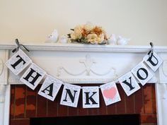 THANK YOU Banner - Thank you Sign - Wedding Banners -Wedding Garlands- Thank You Cards Photo Prop /Reception Signs you Pick the colors