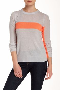 a58207989b77eb 360 Cashmere Anya Cashmere OYSTER-TANGERINE Sweater size M