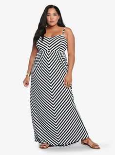 Mitered Striped Maxi Dress, $68.50, Torrid | Community Post: 27 Fabulous Plus-Size Maxi Dresses Under $100