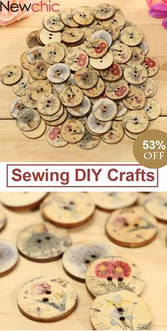 UP to 53% OFF -- 100pcs Wooden Flower Sewing Buttons DIY Craft Bag Hat Clothes Decoration Sewing Button#newchic#newchichome#diycrafts