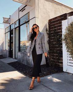 Silk slip dresses and tweed blazers to transition into fall 🍂 Tweed Blazer, Tweed Dress, Blazer Dress, Grey Midi Dress, Dress Black, Checked Blazer, Silk Slip, Online Fashion Stores, Shorts
