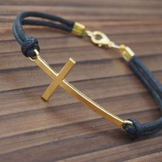 Cross bracelet in gold for men wholesale online--Quality Black Wax cord Leather--Best Gift Jewelry for Him | Personalized Bracelets | Custom Necklace | Wholesale craft supplies - Turntopretty