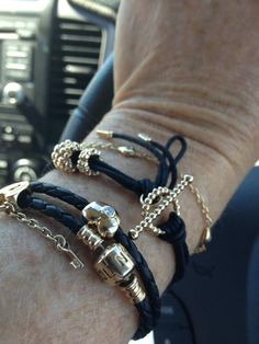 PANDORA Bracelets with Timeless Gold n Black .....Stunning