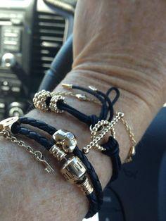 PANDORA Bracelets with Timeless Gold n Black .....Stunning