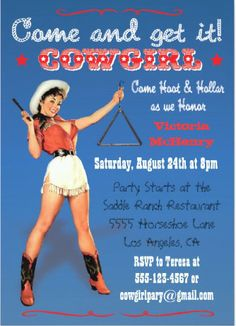 """Round up all your friends with a fun and retro Wild West invitation. Choose the style that fits your party: vintage pin-up cowgirl, old time buckaroo, rustic Western, or classic """"Wanted"""" poster. 40th Birthday Parties, 50th Birthday Party, Party Sparklers, Wild West Party, 50th Birthday Invitations, Vintage Cowgirl, Cowgirl Party, Betty Boop, Westerns"""