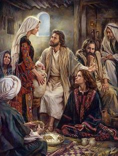 Jesus often visited the home of Mary, Martha and Lazarus. Martha was a good hostess and was busy making the best meal for Jesus. But Mary wanted to stay with Jesus, soaking in His words. Mary chose the best part. Pictures Of Christ, Bible Pictures, Bible Photos, Religious Pictures, Lds Art, Bible Art, Images Bible, Image Jesus, Saint Esprit