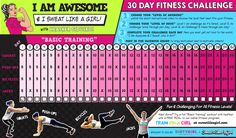 I Am Awesome 30 Day Fitness Challenges ⋆ Sweat Like A Girl, Lehigh Valley Women's Fitness