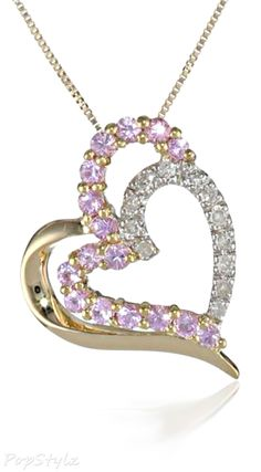 Gold Sapphire Diamond Heart Necklace