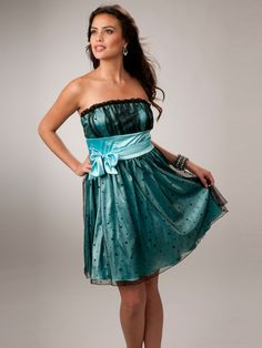 Short Strapless sequined tulle overlay satin sash with bow Party Dress  Party Dress Prom Dresses Under 35cb48269d7c