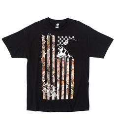 Metal Mulisha Realtree Lost Flag Tee Mens Graphic Print Cotton Black T-shirt #MetalMulisha #GraphicTee
