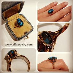 Turn of the last century turquoise and 14 karat yellow gold ring. #giltjewelry #turquoise #antique #vintage #ring #solitaire #organic #golden #nw23rd