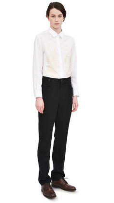 AW13 White cotton floral jacquard shirt, black wool/cotton parade trouser, dark brown leather brogue
