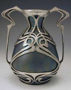 Zsolnay Ceramic art nouveau vase with polished pewter mount, Hungary, c. 1900 http://www.titusomega.com/