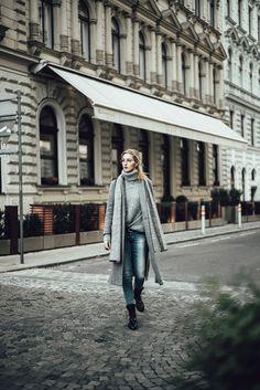 shades of grey - alittlebitof. Long Grey Coat, Shades Of Grey, Knitwear, Duster Coat, Glasses, Jackets, Fashion, Summer, Eyewear