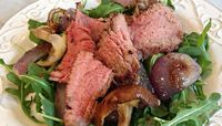 Grilled Steak, Onion, and Mushroom Arugula Salad