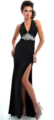 Mac Duggal Prom 2013 - Black Halter Chiffon Prom Gown