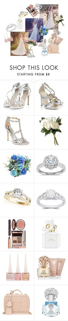 """""""Love"""" by i-lilu ❤ liked on Polyvore featuring Maggie Sottero, Badgley Mischka, National Tree Company, Zac Posen, Charlotte Tilbury, Marc Jacobs, Christian Louboutin, Vince Camuto and Chanel"""