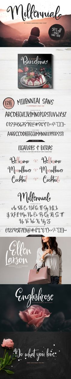 Introducing Millennial Script! A flirty, timeless #handwriting #font with a quick stroke and a dancing baseline. Use Millennial for hand-written #branding, headlines, product #packaging, email signatures, #advertising campaigns, book covers and more!