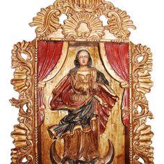 antique carved spanish peruvian colonial credenza/bargueno