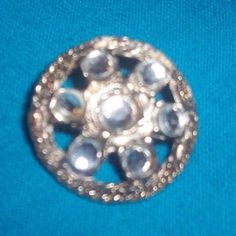 """Vintage Small 1"""" Round Antique Gold tone Brooch Pin Rhinestones NR free shipping #Unbranded"""