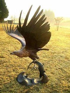 Bronze Big Large Birds sculpture sculpture by sculptor Graeme Quinn titled: 'life size African Fish Eagle (Bronze Flying Raptor sculptures/statues)' - Artwork View 1