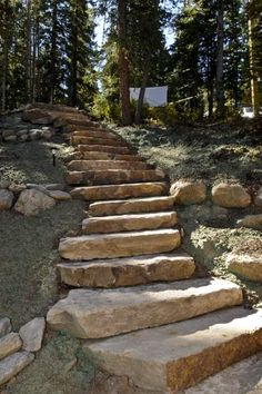 I love the rock steps., I love the rock steps Hillside Landscaping, Landscaping With Rocks, Front Yard Landscaping, Landscaping Ideas, Outdoor Walkway, Outdoor Stairs, Walkway Ideas, Rock Walkway, Walkway Designs