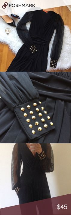Nasty Gal Studded Jumpsuit with Gold Studs Stand out from the crowd with this amazing jumpsuit. Absolutely love the gold studs on the cuffs and the sheer sleeves - very unique! The v-neckline also perfectly accentuates your assets  material is poly-spandex so does have some elasticity when makes it super comfortable. Perfect for cocktail parties. Would best fit size 4-6. Worn out and dry cleaned once. Nasty Gal Pants Jumpsuits & Rompers