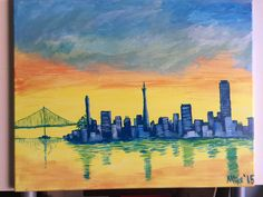 SF Skyline Acrylic on canvas The colors are very nice and the cityscape works well.  It's more expressionistic than realistic but a nice painting