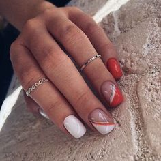 Beautiful Acrylic Short Square Nails Design For French Manicure Nails. When making nails, most women will have a hard time choosing which shape of nails French Manicure Nails, French Nails, Red Nails, Hair And Nails, Cute Acrylic Nails, Cute Nails, Pretty Nails, Square Nail Designs, Nail Art Designs