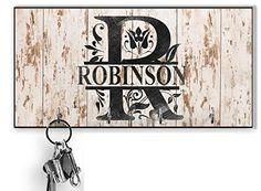 Beige personalized Key Holder for wall,Custom monogram Key Hanger,Personalized Key rack, shabby chic style, Housewarm... Key Organizer, Family Organizer, Wall Key Holder, Key Rack, Family Signs, Wooden Background, Mdf Wood, Shabby Chic Style, Gifts For Family