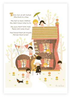 There was an Old Woman who lived in a Shoe - A4 print illustration children's poster kids baby Nursery Rhyme Storybook vintage retro