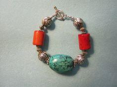Turquoise Bracelet Plus Size Jewelry Large Beads by Jewelrybydanne, $125.00