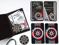 Vegas art deco casino wedding invitation with personalised poker chip magnet Casino Night Party, Casino Theme Parties, Vegas Party, Art Deco Invitations, Party Invitations, Gala Invitation, Casino Wedding, Party Food Themes, Casino Table