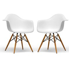 This set of two retro white accent chairs will add a classic look to any living space. Ergonomically shaped for comfort, these white molded plastic chairs feature wooden legs with black steel hardware. The black and white design accents many decors.