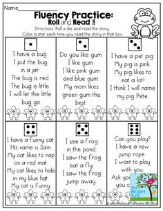 Roll and Read a simple short story with CVC words and basic SIGHT WORDS! Color a star each time you read it! This is a great game to have students master certain sentences and fluency.