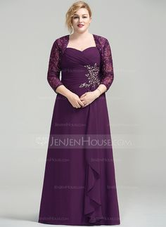 A-Line/Princess Sweetheart Floor-Length Chiffon Mother of the Bride Dress With Beading Sequins Cascading Ruffles (008077023)