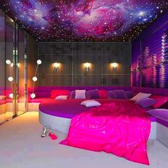 Dream bedroom but the carpet would be lime green i will have this bedroom one day.! (: