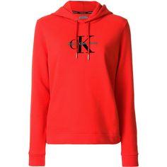 Ck Jeans logo print hoodie ($120) ❤ liked on Polyvore featuring tops, hoodies, red, red hoodie, cotton hooded sweatshirt, calvin klein jeans, sweatshirt hoodies and hooded pullover