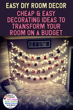 Easy DIY Room Decor – Cheap & Easy Decorating Ideas To Transform Your Room On A … – home decor on a budget rental Diy Bedroom Decor For Teens, Cheap Room Decor, Easy Diy Room Decor, Diy Home Decor On A Budget Easy, Bedroom Ideas, Decorate Your Room, Easy Diy Crafts, Rum, Decorating Tips