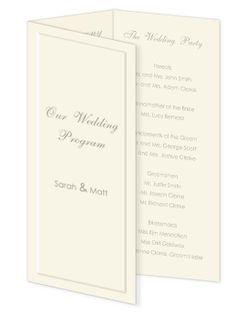 pre-scored 3-panel paper for DIY wedding programs