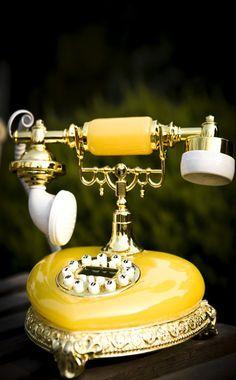 Vintage Love, Retro Vintage, Vintage Party, Vintage Yellow, Amazing Grace Perfume, Antique Phone, Antique Brass, Retro Phone, Telephone Booth
