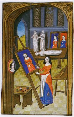 Artist in her Atelier Giovanni Boccaccio, Des cléres et nobles femmes, Spencer Collection MS. 33, f. 37v, French, c. 147 by Cea., via Flickr